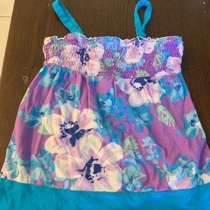 Justice purple flower tube tank top girls size 10